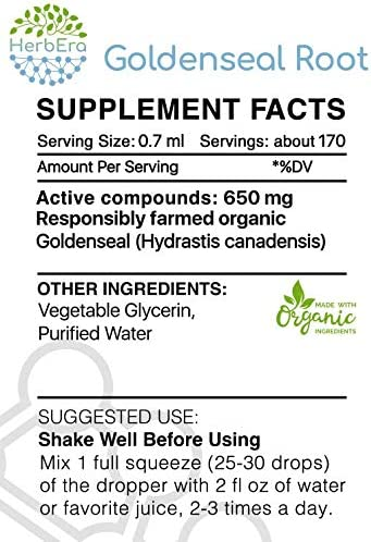 Goldenseal Root B120 Alcohol-Free Herbal Extract Tincture, Super-Concentrated Responsibly farmed Organic Goldenseal Hydrastis Canadensis 4 fl oz