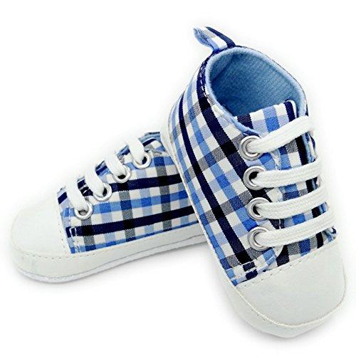 Leap Frog Plaid Sneaker - Zapatos primeros pasos de Lona para niña Azul