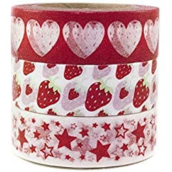Japanese Washi Masking Tape by Minas Crafts, 0.6 Inches Wide, 32.8 Feet Long, Set of 3 - Strawberry Reds