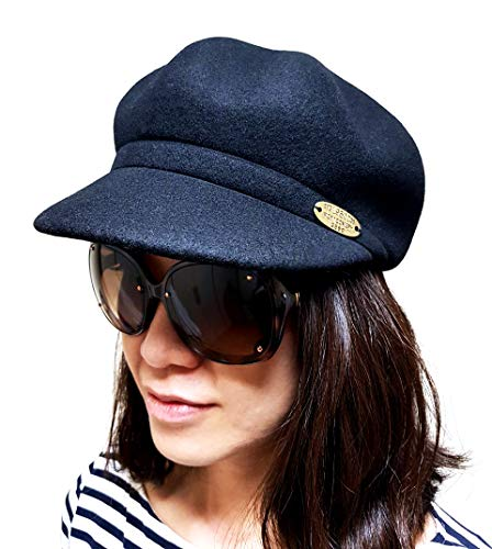 Women's Eva Gatsby Stylish Hat Wool 100% (Black)