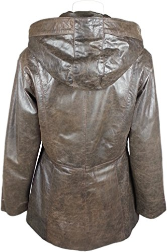 UNICORN Femmes Classique à Capuche Manteau Parka - Réel cuir veste - Antique Marron #HH