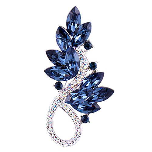 RAINBOW BOX Brooch Pins for Women,Blue Rhinestone from Swarovski Crystal Jewelry Large Women's Brooches & ()