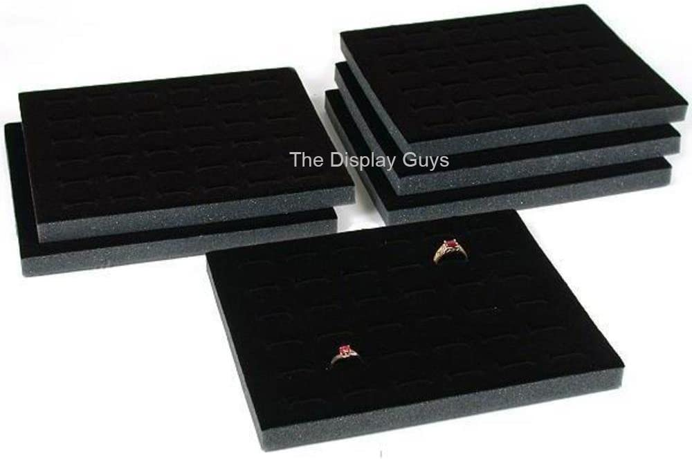 The Display Guys 6pcs Deluxe Black Velvet Ring Foam 36 Slot Jewelry Travel Ring Insert Display Pad Holder