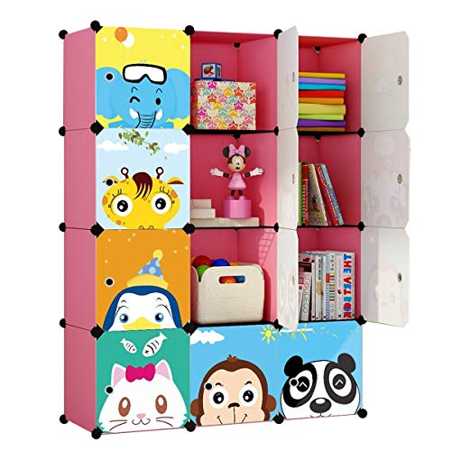 KOUSI Toy Organizer Toy Storage Portable Toy Organizers for Kids Children Toy Organizers and Storage Multifuncation Cube Storage Shelf Cabinet Bookcase Bookshelf, Capacious & Study,Pink, 12 Cubes