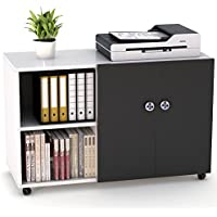 "File Cabinet, LITTLE TREE 39"" Large Storage Printer Stand Mobile Lateral Filing Office Cabinet with Door and Open Shelves for Home Office, White+ Black Doors"