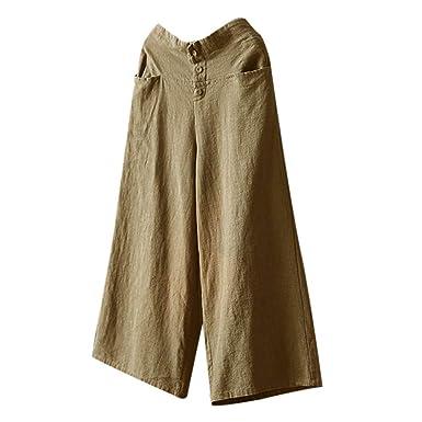 d9dbdac90d85 LISTHA Cotton Linen Wide Leg Pants Plus Size Women High Waist Culottes  Trousers