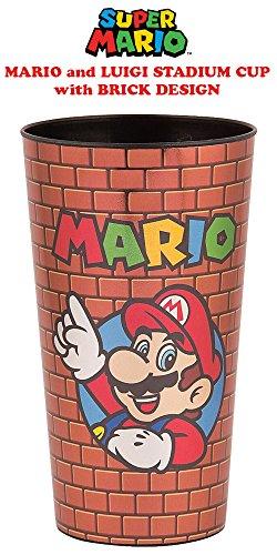 32oz Nintendo OFFICIAL Super Mario Bros. SNES CLASSIC RETRO Mario & Luigi Stadium Cup GIFT with Brick Design