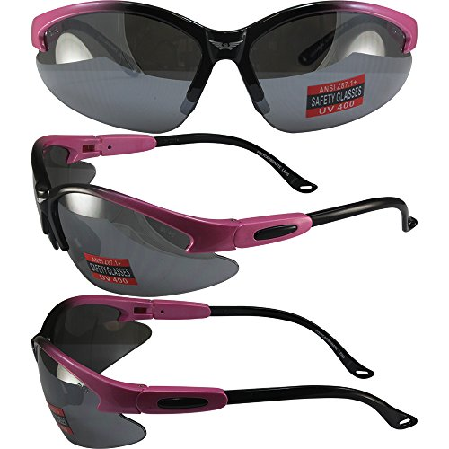 Global Vision Cougar 3 Motorcycle Safety Sunglasses Pink and Black Two-Tone Nylon Frames with Flash Mirror Lenses ANSI Z87.1+