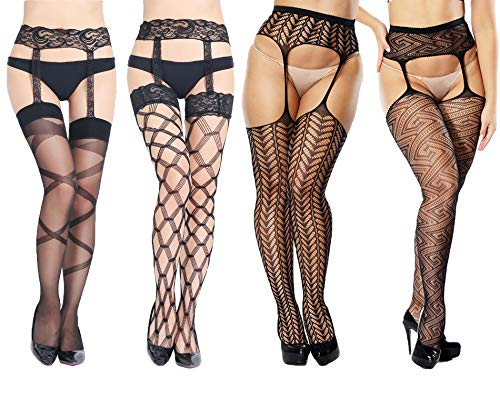 Women's High Waist Sexy Suspender Tights Fishnet Stockings Thigh High Pantyhose 4-Pack (One Size: Fits US 4-14, B-4 Pack-grid Sexy Black Socks) by SDHero
