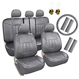 Leader Accessories Universal Front Rear Car Seat Covers Leather 17pcs Combo Pack Full Set Grey with Airbag - Free Steering Wheel Cover/Shoulder Pads …