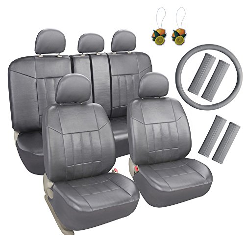 Leader Accessories Universal Front Rear Car Seat Covers PU Leather 17pcs Combo Pack Full Set Grey - Free Steering Wheel Cover and Air Fresheners (Covers Combo Seat)