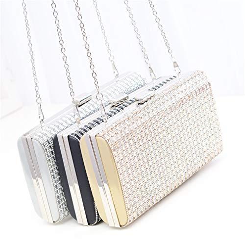 Wedding Shoulder Clutches Crystal Silver Hardcase Party Evening Clutch Purse Bags Women Silver Metal Handbags ARnxXqw4B