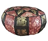 Egyptian Morrocan Handmade Genuine Leather Ottoman Pouf (BROWN & PATCHED ORANGE)