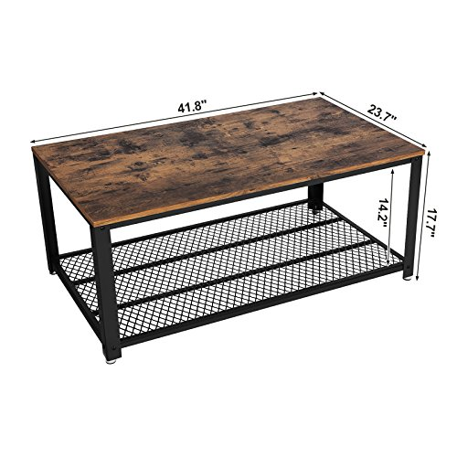 SONGMICS Vintage Coffee Table, Cocktail Table with Storage Shelf for Living Room, Wood Look Accent Furniture with Metal Frame, Easy Assembly ULCT61X by SONGMICS (Image #5)