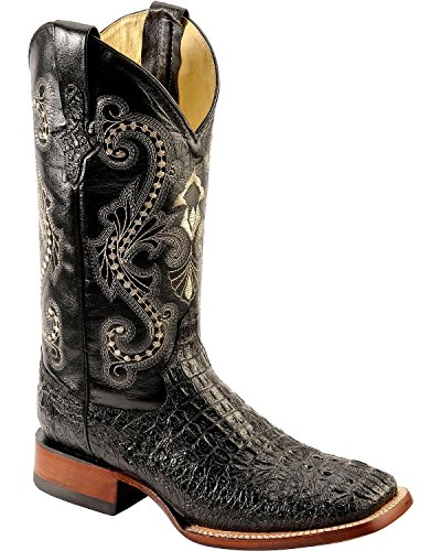 Ferrini Men's Caiman Croc Print Cowboy Boot Wide Square Toe Black 13 EE US (Caiman Croc)