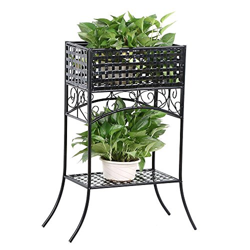 Topeakmart Metal Plant Stands Indoor/Outdoor Flower Pot/Potted/Planter Rack with Storage Shelf Black Finish (Planter Stand Square)