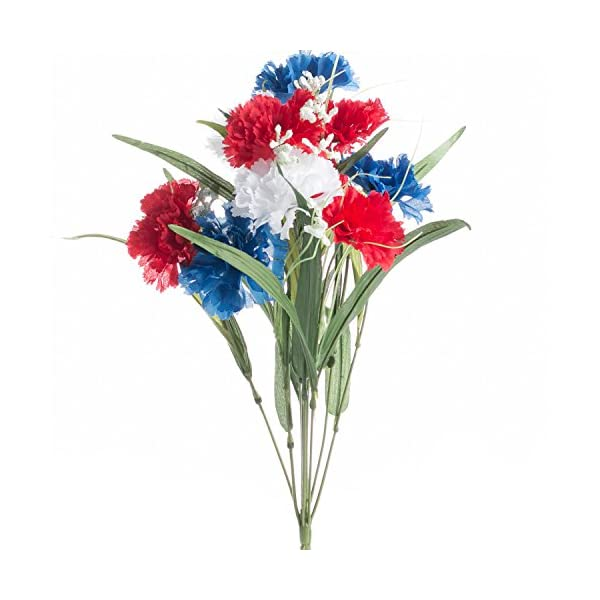 Factory Direct Craft Artificial Americana Themed Carnation Bush with Red, White and Blue Carnations Throughout