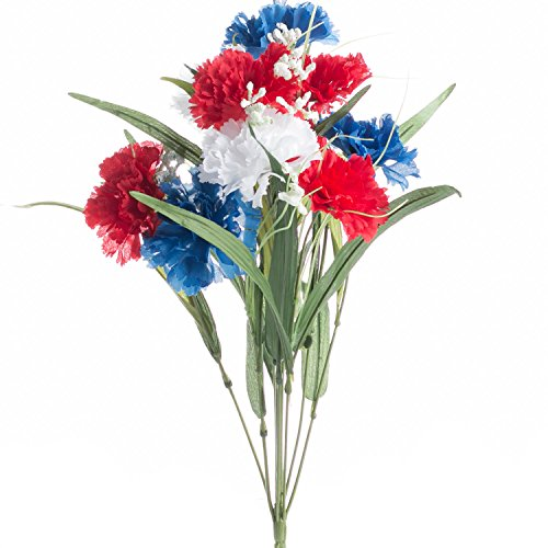 (Factory Direct Craft Artificial Americana Themed Carnation Bush with Red, White and Blue Carnations Throughout)