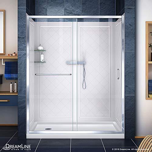 DreamLine Infinity-Z 34 in. D x 60 in. W x 76 3/4 in. H Clear Sliding Shower Door in Chrome, Left Drain Base and Backwalls, - Door Infinity Dreamline Sliding