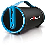 Axess SPBT1033-BL Portable Bluetooth Indoor/Outdoor 2.1 Hi-Fi Cylinder Loud Speaker with SD Card, Aux and FM Inputs, 4-Inch Sub in Blue Color