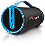"AXESS SPBT1033BL Portable Bluetooth Indoor/Outdoor 2.1 Hi-Fi Cylinder Loud Speaker with Built-In 4"" Sub and FM Radio, SD Card, USB, AUX Inputs in Blue"