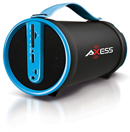 AXESS SPBT1033BL Portable Bluetooth Indoor/Outdoor 2.1 Hi-Fi Cylinder Loud Speaker with Built-In 4