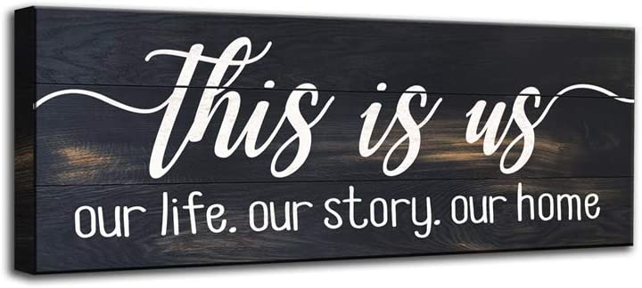 This is Our Life Our Story Our Home, Canvas Wall Art Sign, Wood Grain Background Design, Inspirational Family Bedroom, Living Room Wall Decorative Plaque (6 X 17 inch, This is us-W)