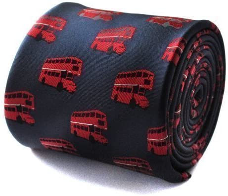 Frederick Thomas Azul Marino Corbata con autobús rojo de Londres ...