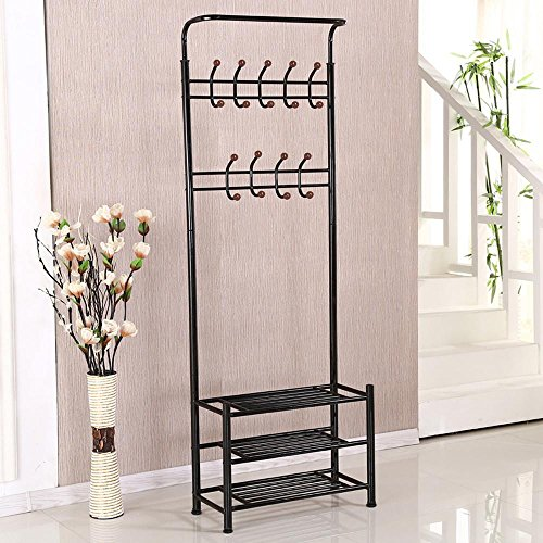 Yaheetech Multipurpose Metal Entryway Coat Rack 18 Hooks 3-Tier Shoe Rack Hall Tree Black - Hall Tree Style Coat Hat