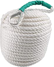 Bang4buck Anchor Rope 1/2 inch 100 Feet Boat Rope Anchor Line with Thimble, Braided Three Strand Marine Rope D