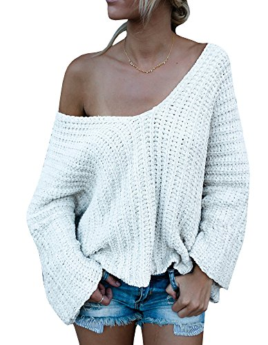 Beautife Womens Long Sleeve V Neck Off The Shoulder Loose Knit Sweaters Pullover