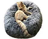BinetGo Dog Bed Cat Bed Cushion Bed Faux Fur Donut Cuddler for Dog and Cat Joint-Relief and Improved Sleep - Machine Washable - Waterproof Bottom (Large - Navy Grey)