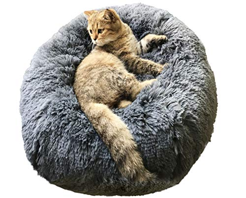 BinetGo Dog Bed Cat Bed Cushion Bed Faux Fur Donut Cuddler for Dog and Cat Joint-Relief and Improved Sleep - Machine Washable, Waterproof Bottom (Large, Navy Grey)
