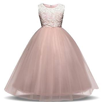 4fcfeb98e Vestido de fiesta para niña tipo princesa, con diseño de flores, niña,  Rosa, 6T: Amazon.es: Deportes y aire libre