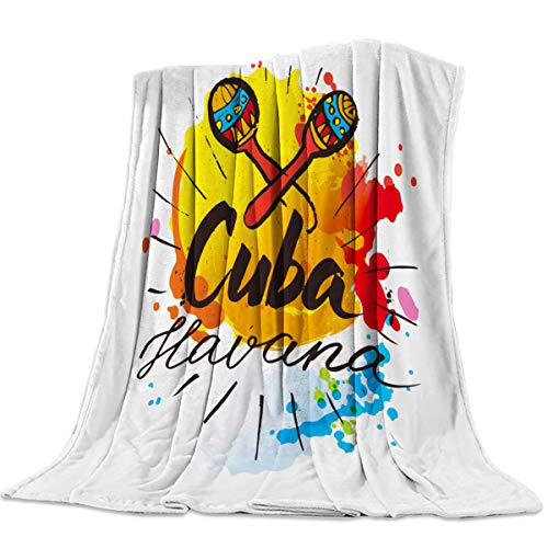 Singingin Cuba Havana Illustrations of Humanities Flannel Throw Blanket Super Soft Warm Snuggle Stadium Blanket for Couch Chair Sofa and Bed Everyday Use 39