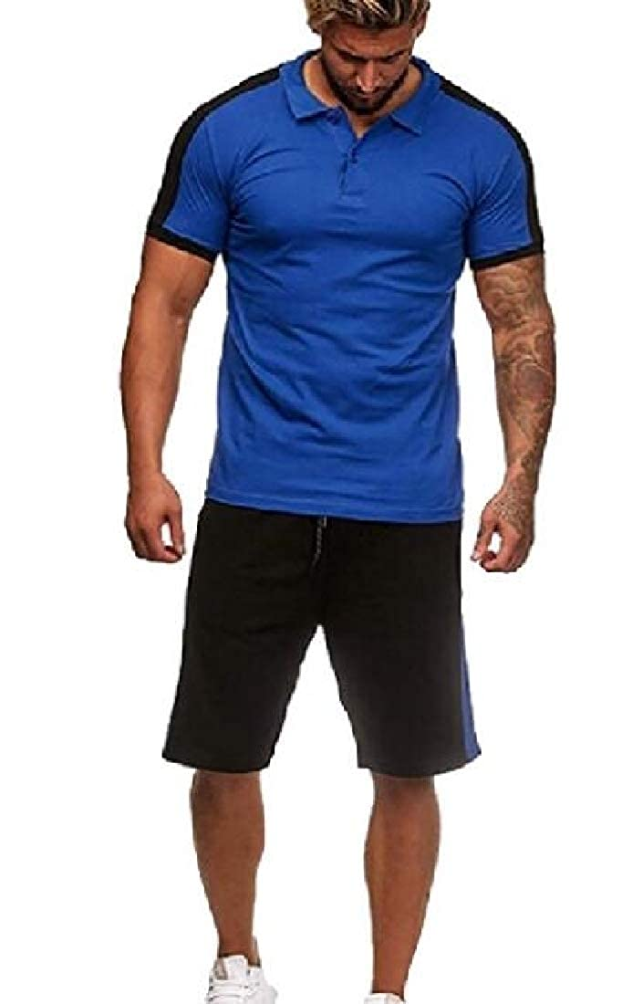 pipigo Mens Gym T-Shirts Short Sleeve with Shorts 2 Pieces Tracksuit Set