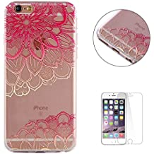 """iPhone 6/6S 4.7"""" Case Clear,[Free Screen Protector] KaseHom Premium Soft Silicone TPU Gel Cover Oil Painting Anti-scratch Bumper Rubber Transparent Shell for iPhone 6/6S 4.7"""",Pink Mandala"""