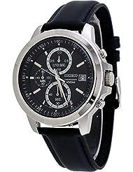 Seiko SKS453 Chronograph Alarm Black Leather Analog 100M Men's Watch