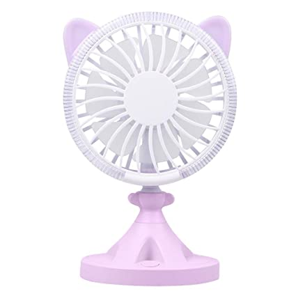 USB Table Desk Personal Fan Mini Handheld Fan Cat Shape Built-in LED Atmosphere Light for Home Office Table Color : Pink, Size : One Size