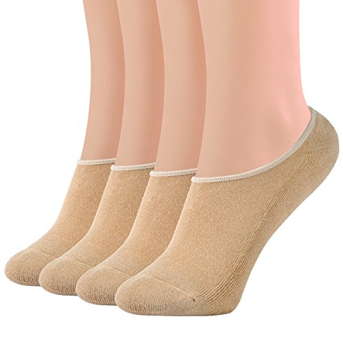 Areke Women's Thick Bamboo Athletic No Show Socks Low Cut with Heel Grip Comfort Cushioned Sox 4-10 Pack Color Nude 4Pair Size US Shoe Size - 5k Nude