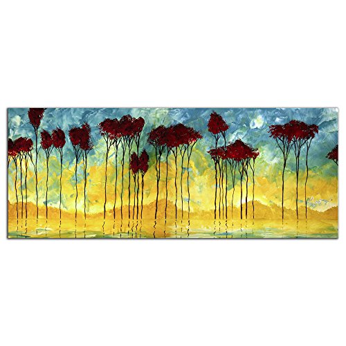 Red Birch Tree Art 'On the Pond Metal Gicl?e - Modern Blue & Yellow