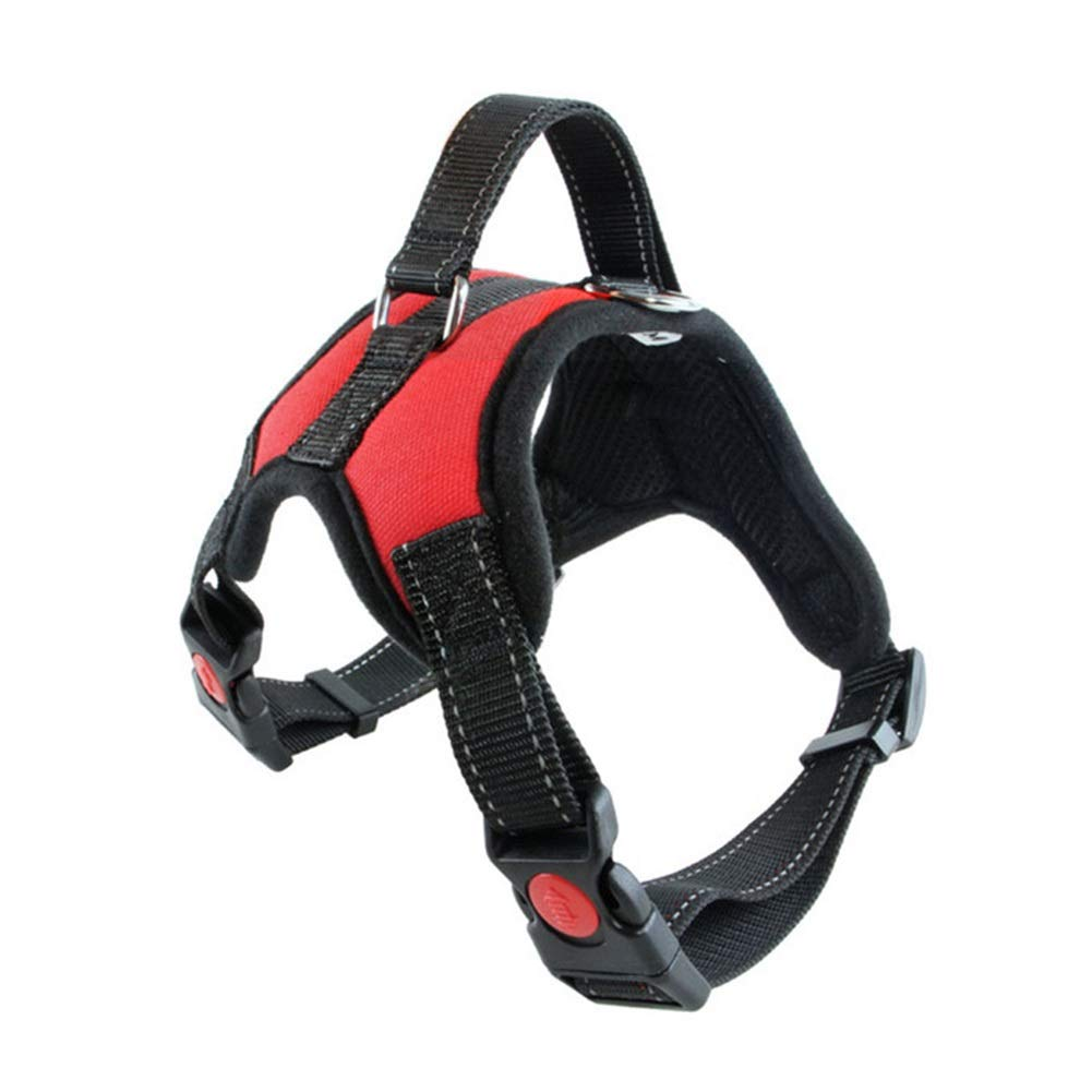 RED S(45-51cm) RED S(45-51cm) Dog Vest Harness, Safety Buffer Reflective Chest Strap Adjustable Outdoor Training for Small Medium Dogs Teddy Leash Belt Pet Cat Harness (color   RED, Size   S(45-51cm))
