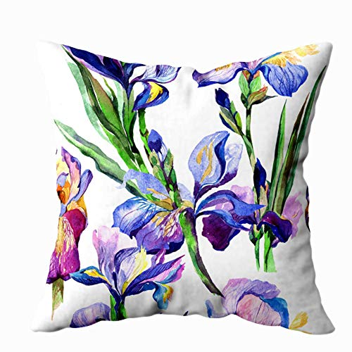 (ROOLAYS Deco Pillow Covers, Square Throw Pillowcase Covers 20X20Inch, Wildflower Iris Flower Pattern in Watercolor Style Full Name The Plant Aquarelle Wild Both Sides Farmhouse Decor Cushion)