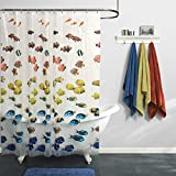 Clear Shower Curtain with Fish Design MAYTEX Photoreal New School Waterproof PEVA Shower Curtain