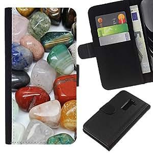 LG G2 D800 D802 D802TA D803 VS980 LS980 , la tarjeta de Crédito Slots PU Funda de cuero Monedero caso cubierta de piel ( Protective Magical Stones Precious Colorful)