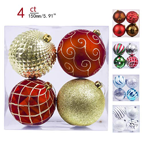 Valery Madelyn 4ct 150mm Luxury Red Gold Shatterproof Christmas Ball Ornaments Decoration,Themed with Tree Skirt(Not Included)