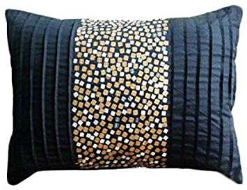 Designer Black Lumbar Pillow Cover, Metallic Sequins Lumbar Pillow Cover, 12 x24 Lumbar Pillow Cover, Rectangle Silk Lumbar Pillow Cover, Contemporary Lumbar Pillow Cover – Starbust Fizz