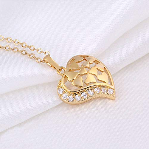 Wdding Heart Shape Hollow 18K Yellow Gold Filled Pendant Chain Necklace Women
