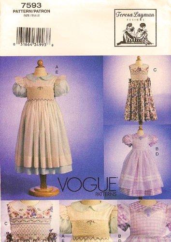 - Vogue 7593 Teresa Layman Smocked Dress and Pinafore Sewing Pattern Size 5,6,6x