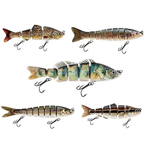 Wobbler Set aus 5 Kunstköder Angelköder Fischköder Jerkbait Spinner optimal zum Raubfischen für Zander, Spinner, Dorsch, Wels, Hecht